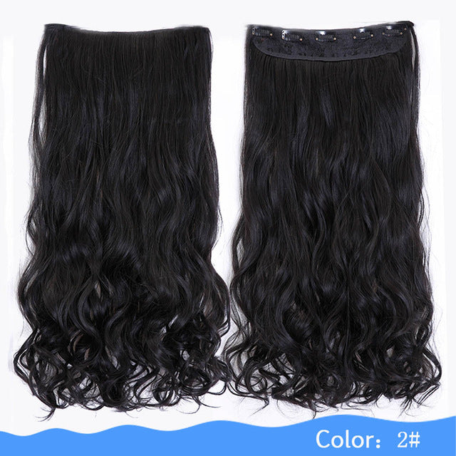 24 Or 28 Inches Long Wavy 5 Clip In Heat Resistant Synthetic Hair