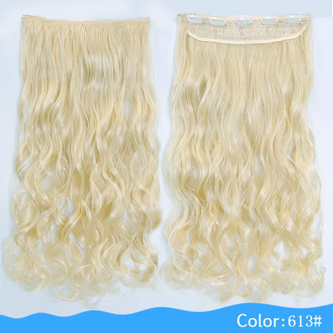 24 or 28 Inches Long Wavy 5 Clip In Heat Resistant Synthetic Hair Extensions
