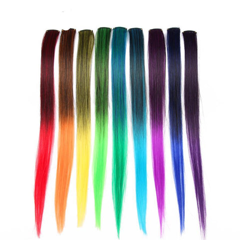 20 Inches Rainbow One Piece Synthetic Straight Fake Hair Clip