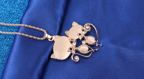 Cat Crystal Necklace