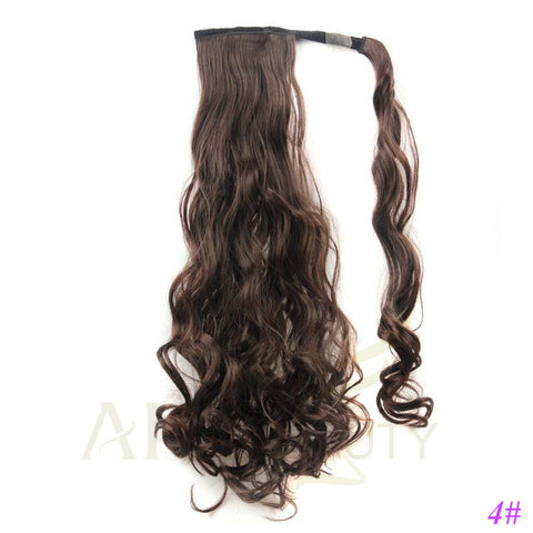 22 Inches Long Wavy Synthetic Wrap Around Ponytail