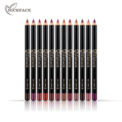 12 Colors Smooth Waterproof Matte Lipliner Pencils