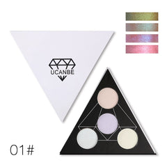 Triangle Glitter Eyeshadow Palette, Holographic Shade Eye Lip Face Makeup