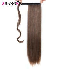 Image of 24 Inches Long Straight Synthetic Hair Extension Ponytail Clip In