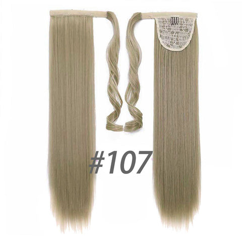 24 Inches Long Straight Synthetic Hair Extension Ponytail Clip In