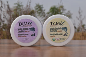 Scented and unscented organic unrefined Shea butter
