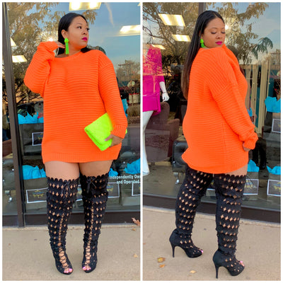 Orange NuNu Sweater Dress