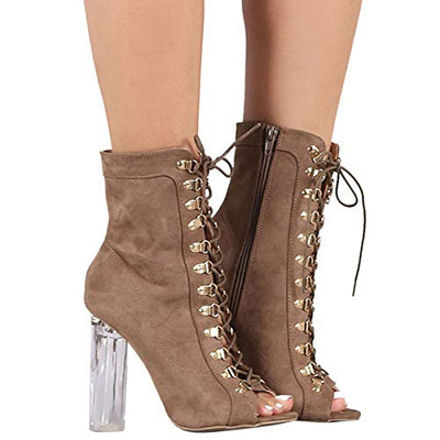 Lucite Chunky High Heel Ankle Booties