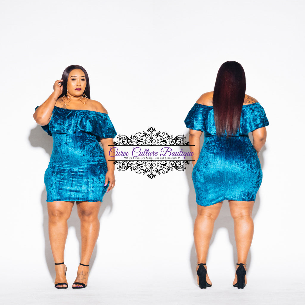 Teal Velvet Lara Dress