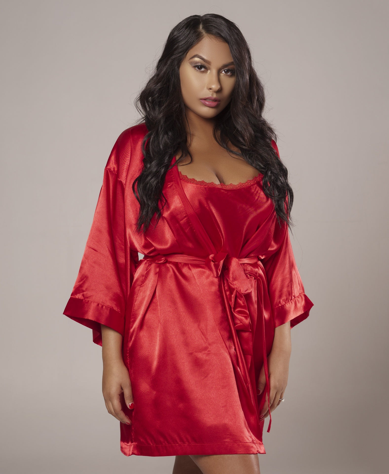 Red Stain Chemise Robe Set