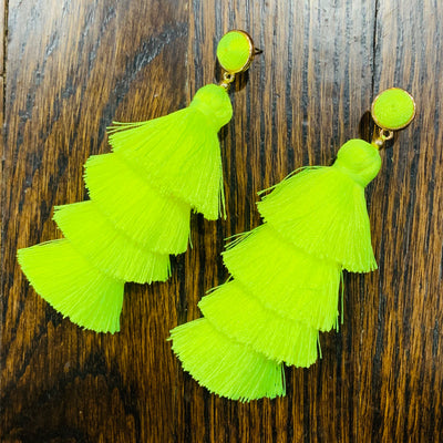 Neon Yellow Party Earrings