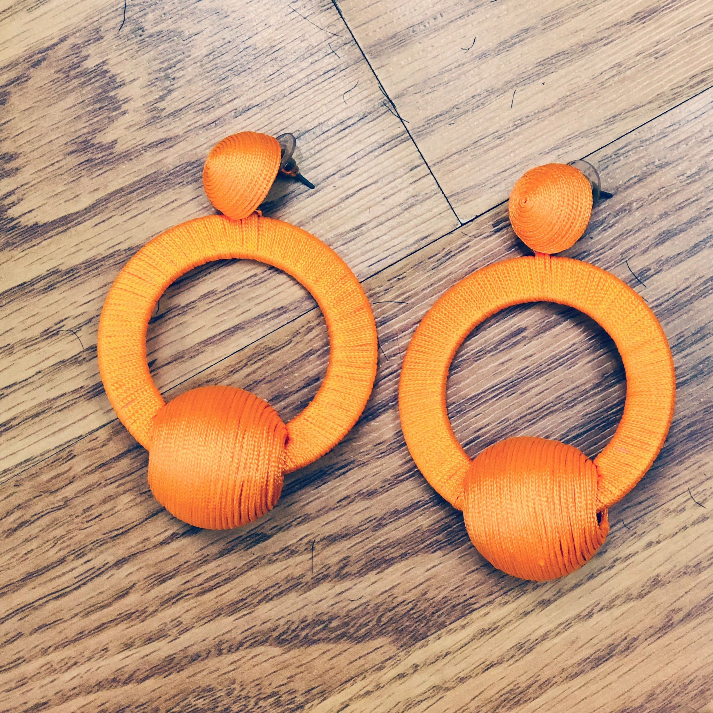 Orange Penny Earrings