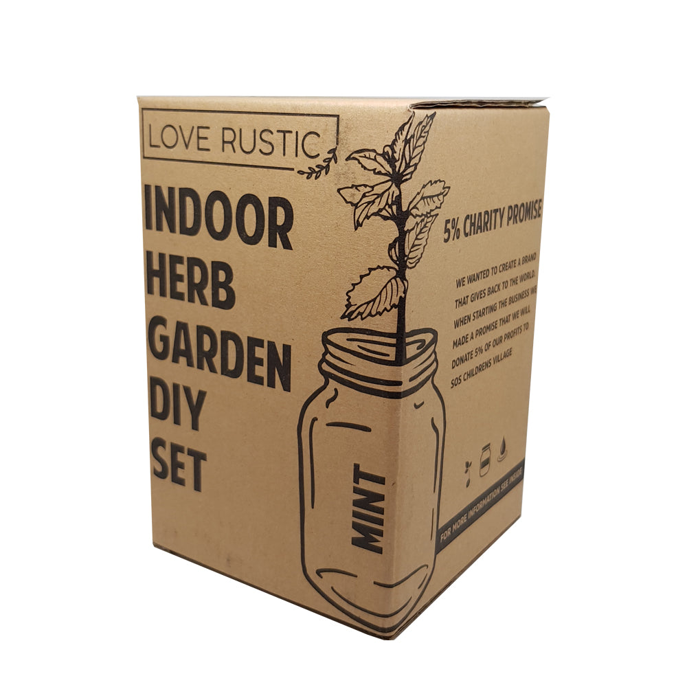 Love Rustic Indoor Herb Garden Set - Grow Your Own Herbs