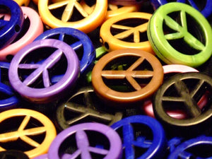 Peace Sign Beads - assorted lot of 10