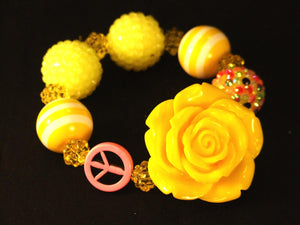 Yellow Flower Bracelet with Peace Sign