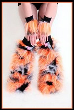 Fluffy Cuff Orange, Black, & White Set