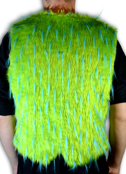 green with blue spike vest back