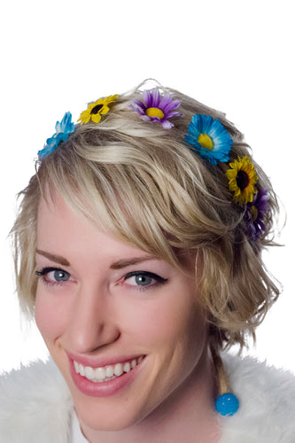 Purple Blue and Yellow Flower Crown Headband Model