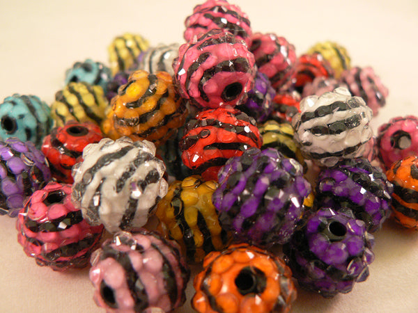 Zebra Striped Neon Kandi Beads
