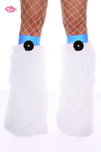 Crazy Daisy Fluffy Leg Warmers- Black Daisy