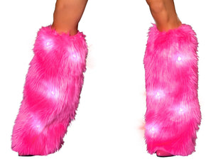 Hot Pink fluffy leg warmers