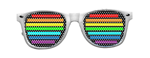 Rainbow Vinyl Shades with White Frames