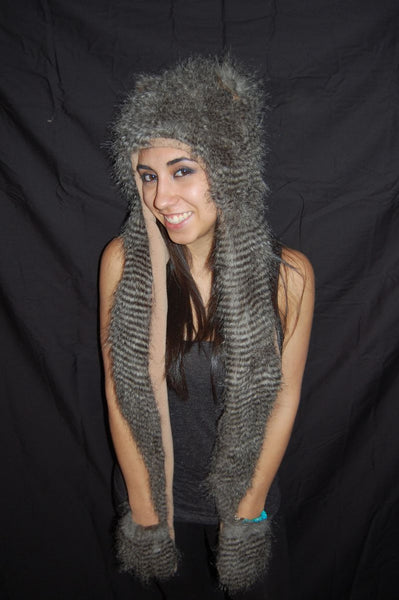 Fuzzy Long Animal Hat- Striped Cat