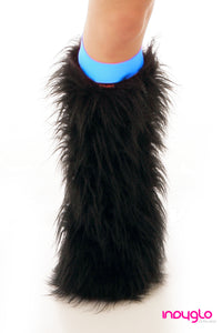 Black Fluffy Legwarmers with Turquoise Knee Bands