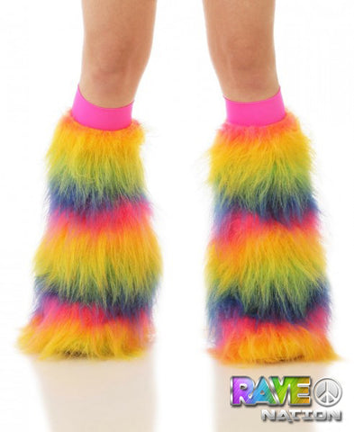 Rainbow Fluffy Leg Warmers - Rave-Nation
