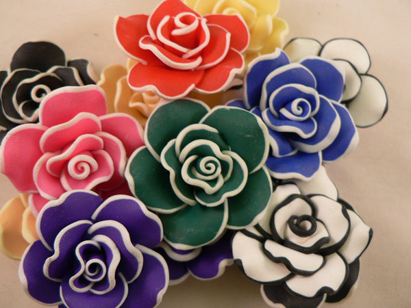 Solid Color Outlined UV Reactive Kandi Bead Clay Roses