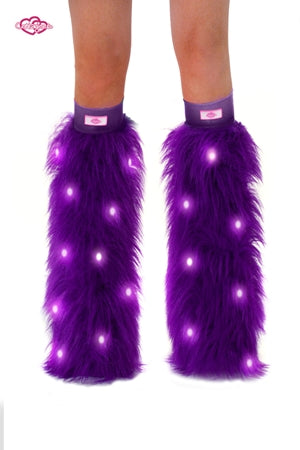 Purple LED Furry Rave Leg Warmers