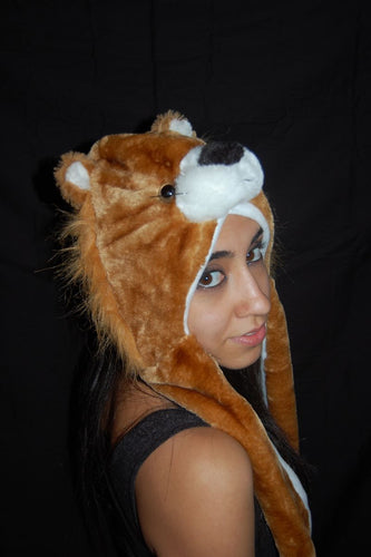 Long Double Sided Animal Hat- Lion
