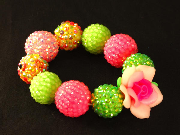 Pink Rose Kandi with Disco Ball Beads