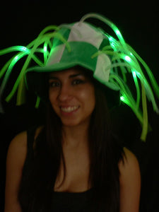 Flashing LED Tentacle Top Hat- Green/White