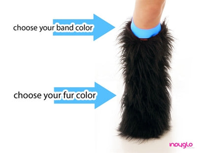 Gold Fluffy Leg Warmers with Black Tips