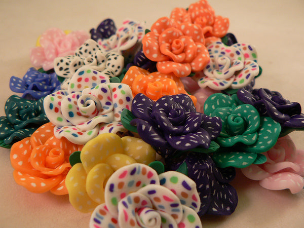 Solid Color Rose Kandi Beads with Speckled Dots