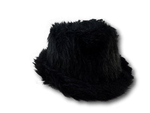 Black Faux Fur Fedora Trilby Hat Soft Luxury hat