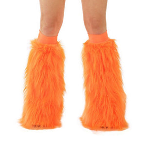 Orange Fluffy Leg Warmers by Rave-Nation