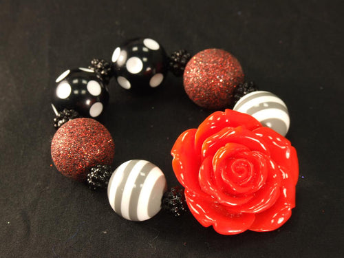 Black and White Kandi with Red Rose