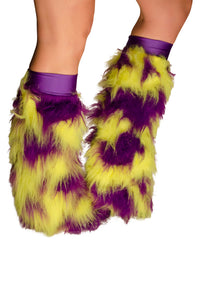 Purple and Yellow Fluffy Leg Warmers With Purple Kneebands