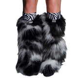 Camo Fluffy Leg Warmers with Black and White 2
