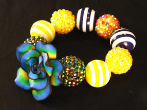 Blue Green Tie Dye Flower Kandi with Round Beads