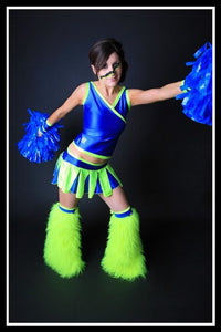 Long Cheerleader Blue & Green Outfit
