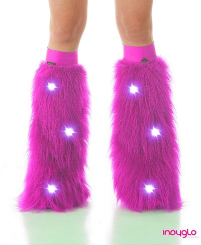 Magenta LED Fluffy Leg Warmers