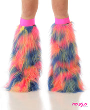 Neutron Fluffy Rave Leg Warmers Pink Yellow Blue