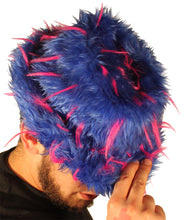 Blue With Pink Spikes Furry Faux Pimp Hat