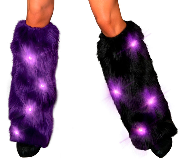 Purple/Black LED Furry Leg Warmers