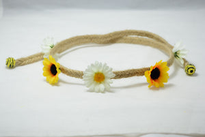 white daisy and sunflower floret headband