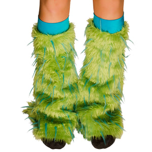 TrYptiX Green Fur with Turquoise Spikes Fluffy Legwarmers