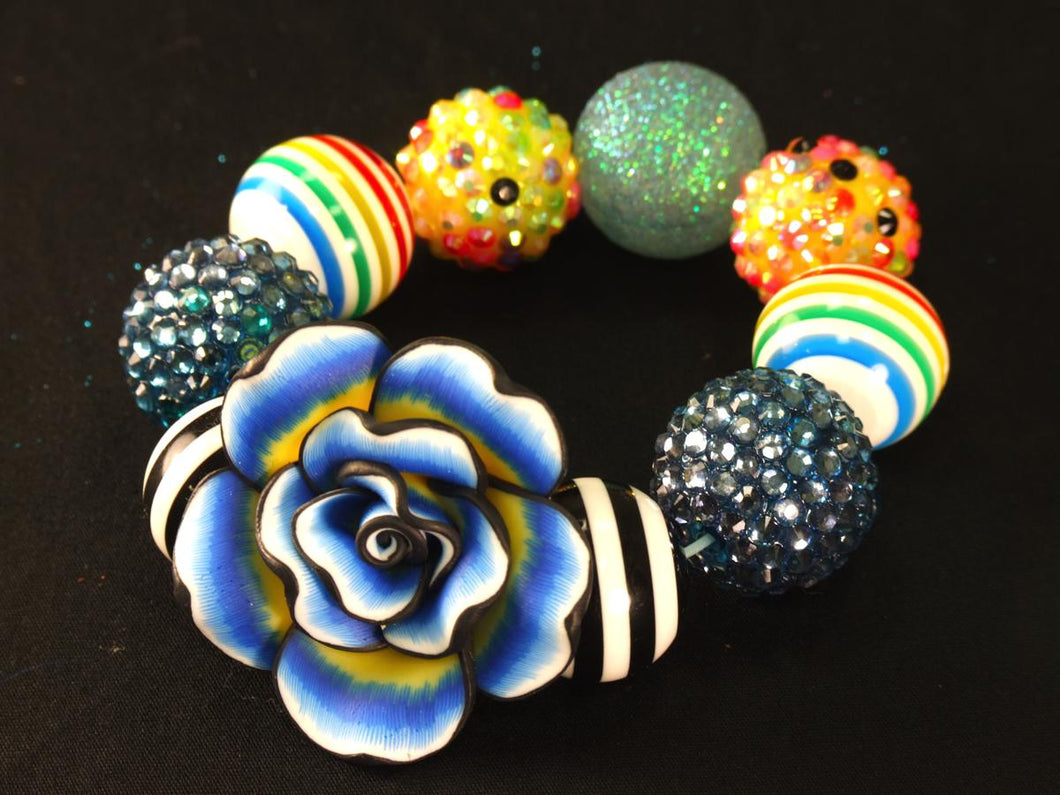 Disco Ball Kandi with Blue/Yellow Tie Dye Flower